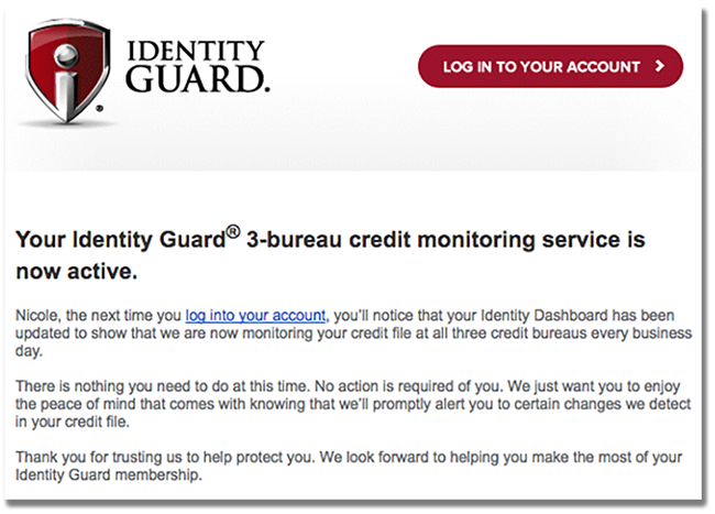 Adjusted Screenshot of IdentityGuard email