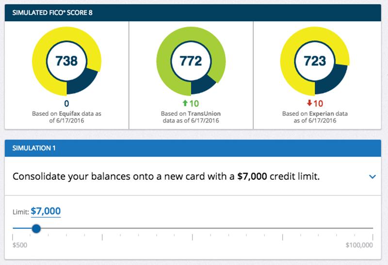 Screenshot of mrFICO Score Simulator