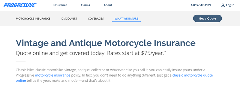 Screenshot of Progressive Motorcycle Insurance