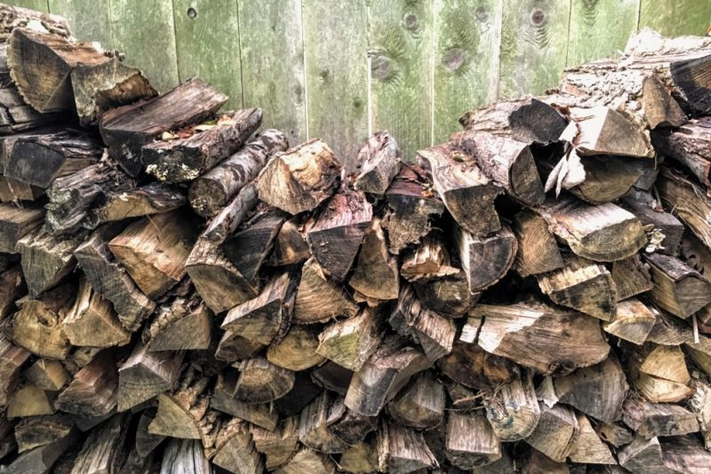 firewood stacked by fence