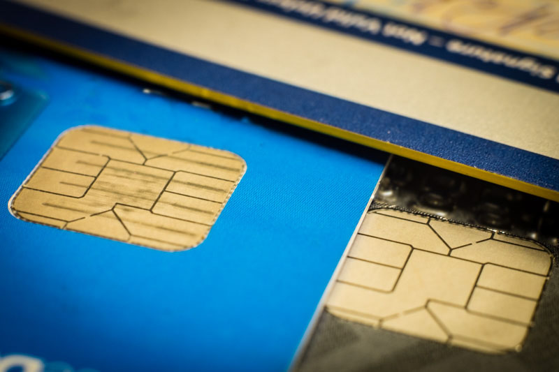 Close-up of EMV Chip Credit Cards
