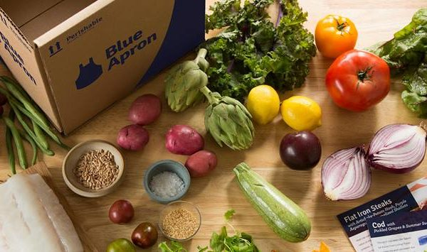 blue apron box and ingedients