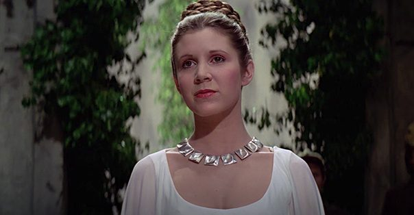 carrie fisher as princess leia in Star Wars: A New Hope
