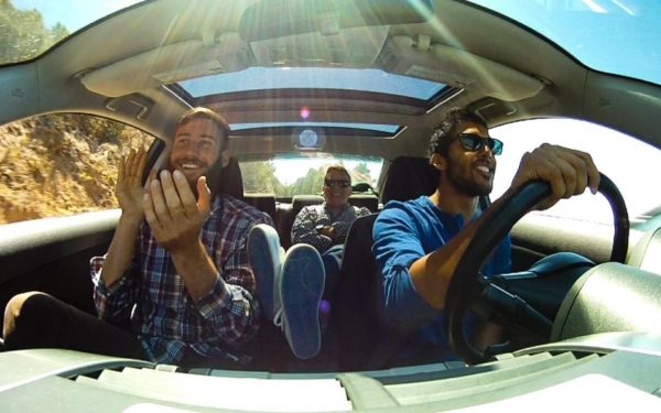 friends driving in a car