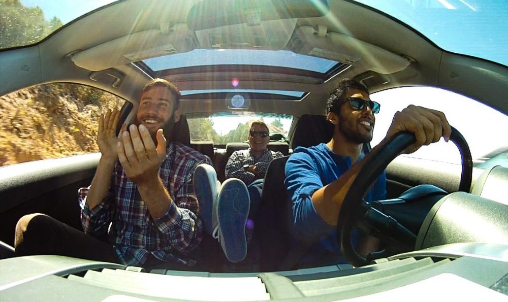 friends driving in a car