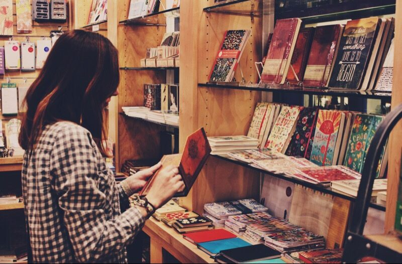 woman shopping in book store
