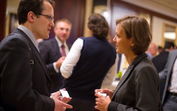 businesspeople at networking event
