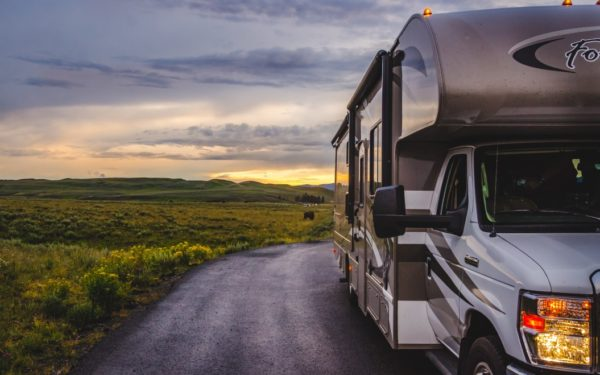 rental rv driving through yellowstone national park