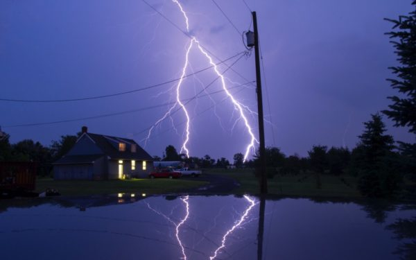 lightning bolt during a hurricane