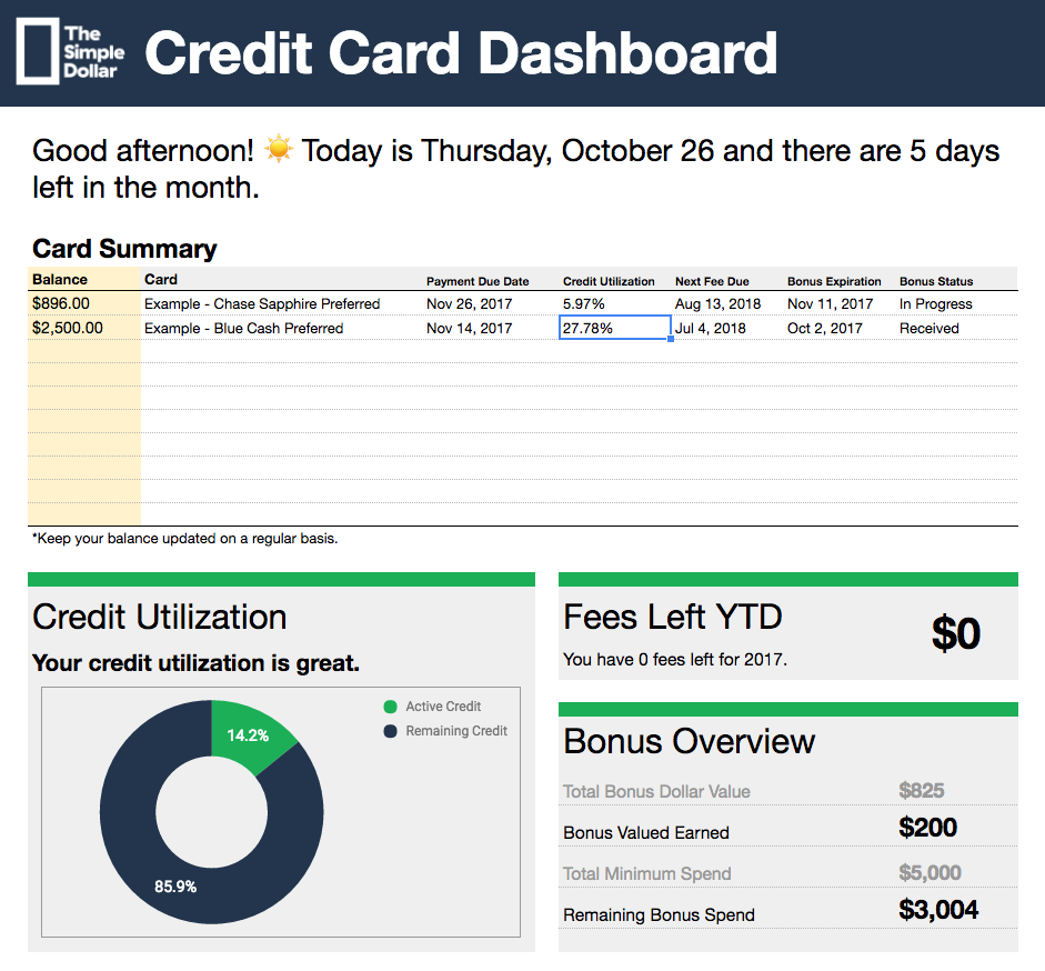 TSD Credit Card Tracker