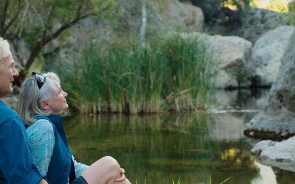 A senior couple sits by a pond. Seniors have several ways to take advantage of travel discounts.