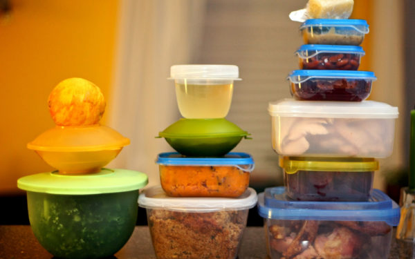 leftover food in tupperware containers