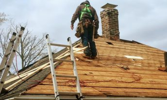 roofer with ladders