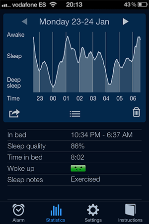screen shot of sleep cycle sleep tracker