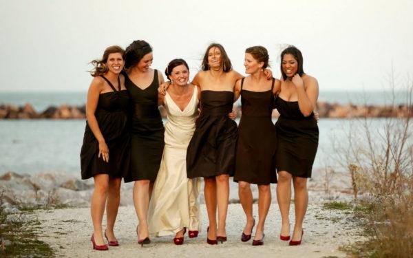 bride and bridesmaids at wedding