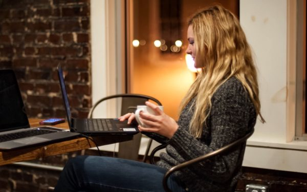 young woman working at coffeeshop