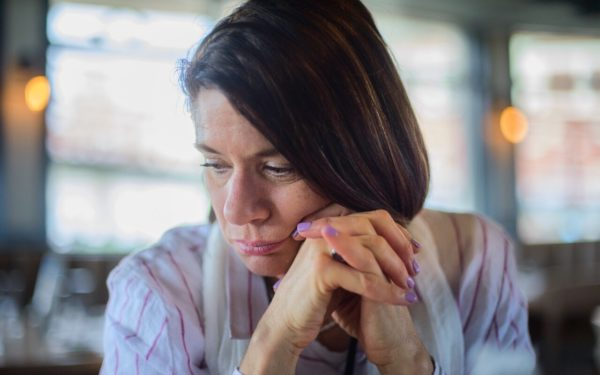 worried woman thinking about retirement