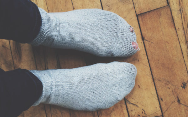 socks with holes in them