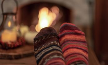 wool socks by the fire