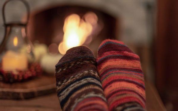 wool socks by the fire