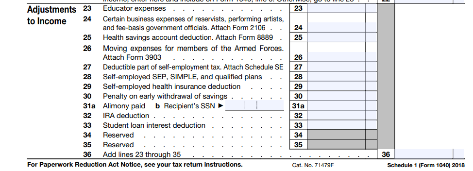 Form 1040 above the line deductions for 2018