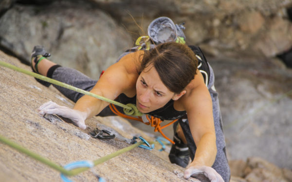 woman mountain climbing