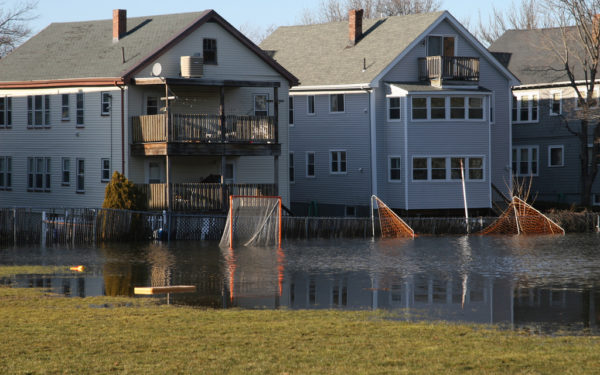 houses next to a flooded field - flood insurance