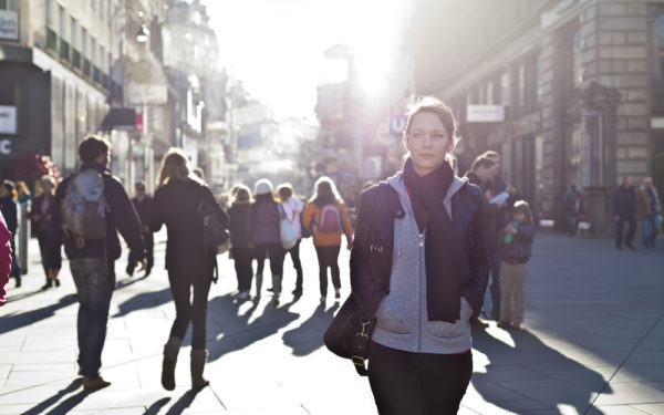 woman on a busy city street