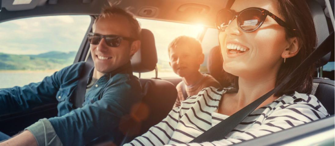 happy family in car - amica auto insurance review