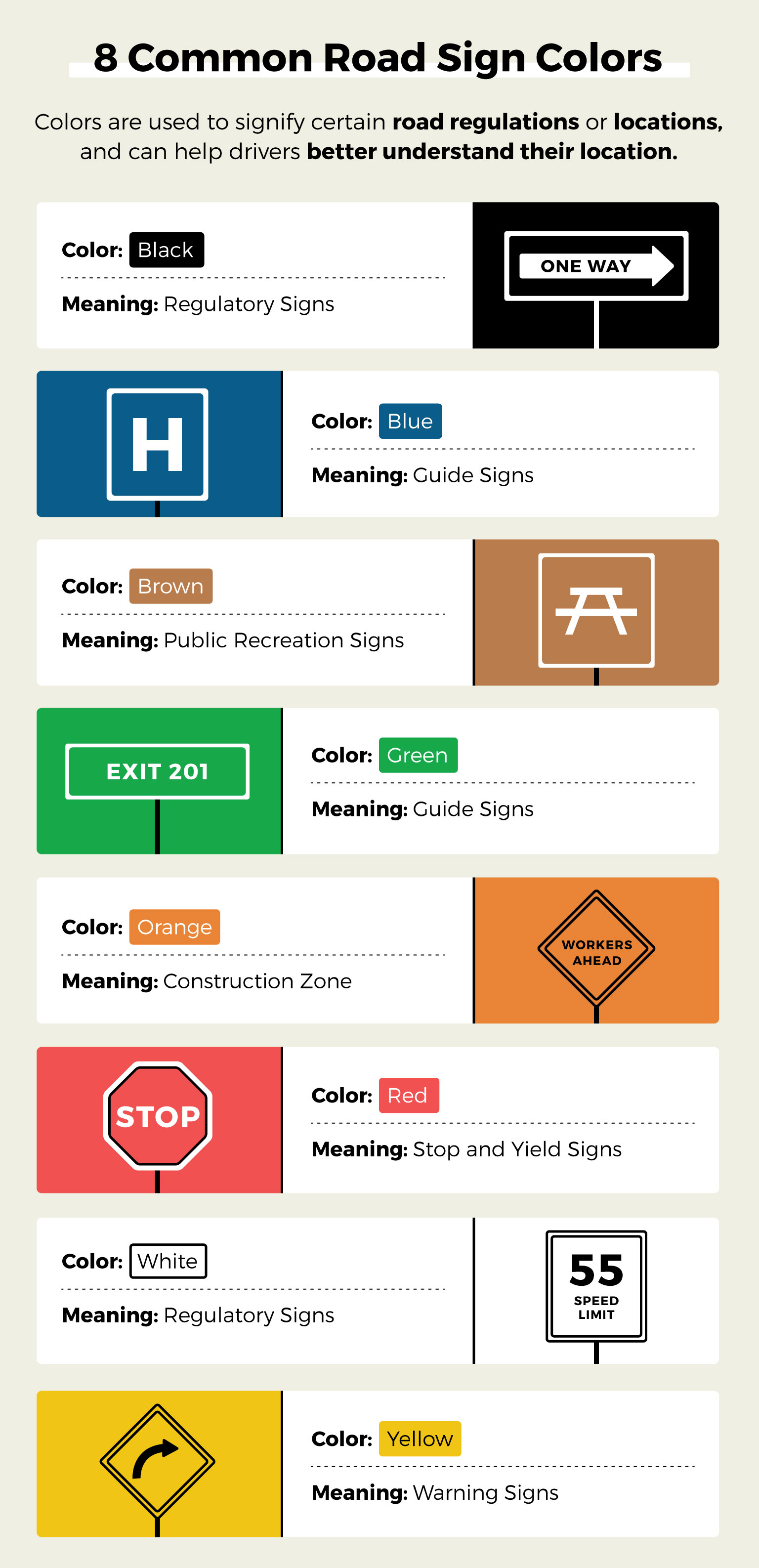 road sign color guide