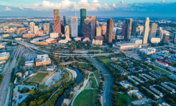 View of city buildings in Houston, TX