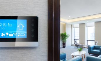 smart home discounts hero image with a smart thermostat