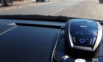 radar detector on car dashboard