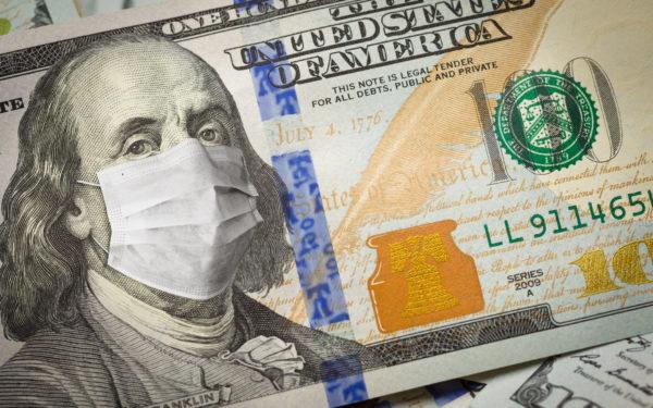 100 dollar bill wearing surgical mask
