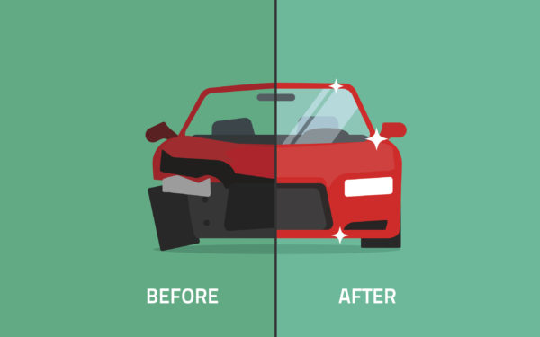 illustration of car showing before and after damage