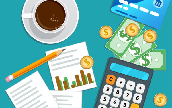 Financial audit, accounting concept. Business planning. Tax report, market data analysis, marketing research. Table with credit card, calculator, cash coins, paper chart, pencil and cup coffee